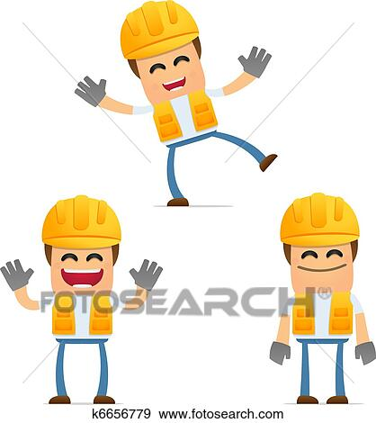 clip art of set of funny cartoon builder k6656779 search clipart