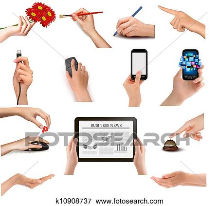 clip art of set of hands holding different business objects vector rh fotosearch com City Clip Art Animal Clip Art