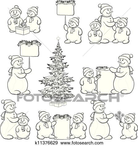 Set Snowman And Christmas Tree Outline Clip Art