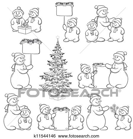 Set Snowman And Christmas Tree Outline Stock Illustration