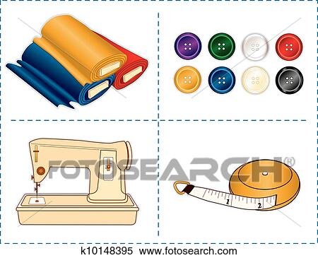 Clipart Of Sewing Tools Jewel Colors K10148395 Search Clip Art