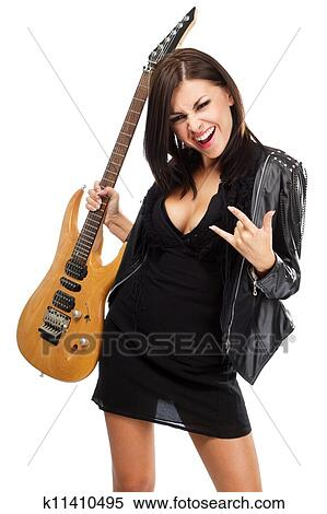 Sexy lady and guitar clip art