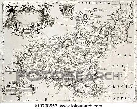 Stock Illustration Of Sicily Old Map With Syracuse Detail K10798557