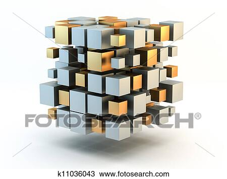 Silver and gold 3D Blocks Drawing