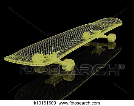 Banque D Illustrations Skateboard Sur A Arrière Plan Noir