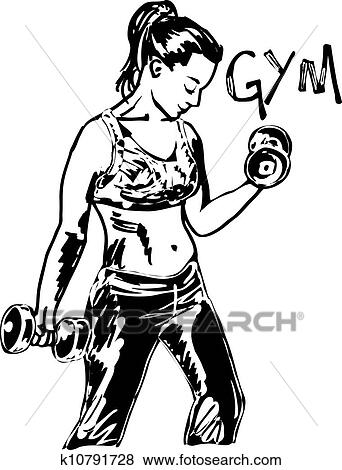 Clip Art Of Sketch Of A Woman Working Out At The Gym With Dumbbell