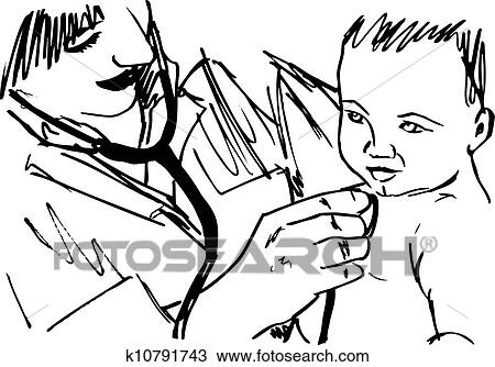 Clipart Of Sketch Of Doctor And Baby Vector Illustration K10791743