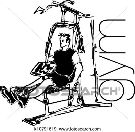 Clip Art Of Sketch Of Man Using Pulldown Machine In Gym Vector
