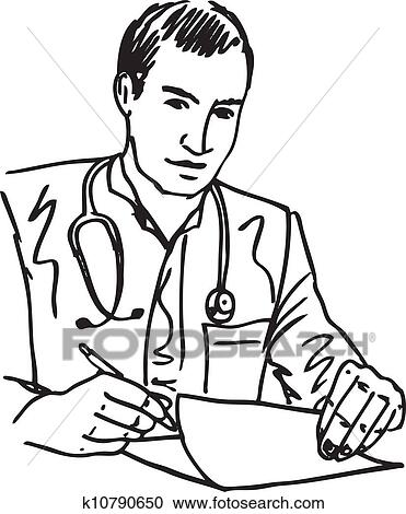 Clipart Of Sketch Of Medical Doctor With Stethoscope Sitting At A