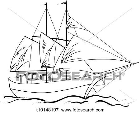 Clip Art Of Sketch Of Nautical Sailing Vessel K10148197