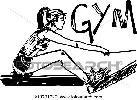 Clipart Of Sketch Of Woman Exercising On Machines At Gym