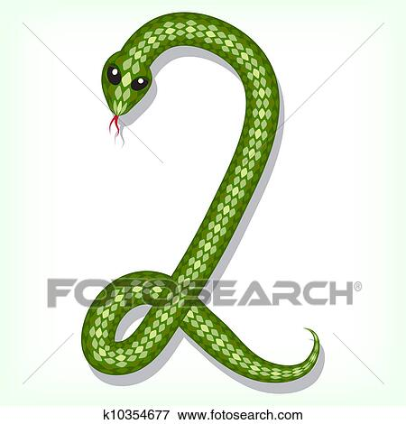 Font Made From Green Snake Digit 2