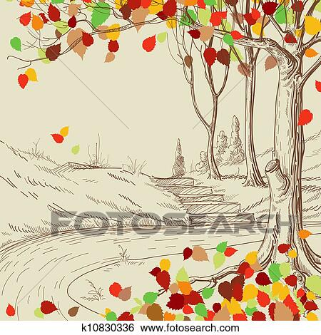 Klip Art Sonbahar Ağaç Park Kabataslak çizim Parlak Yapraklar