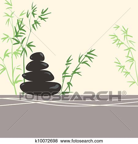 clip art of spa concept stylized zen basalt stones with green bamboo