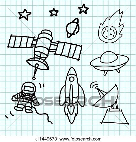 clipart of space set hand draw on graph paper k11449673 search