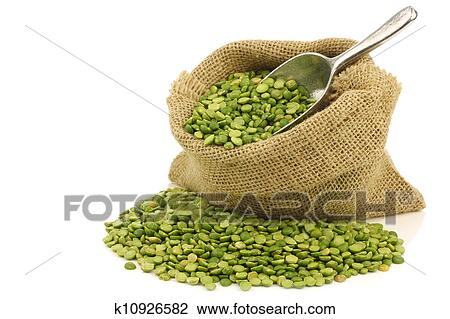 Stock Photo Split Green Peas In A Burlap Bag Fotosearch Search Photography