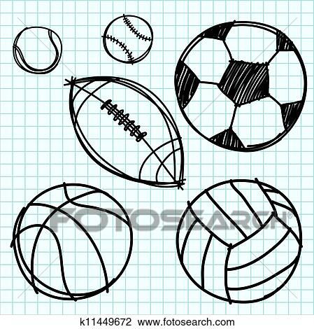 clipart of sport ball hand draw on graph paper k11449672 search