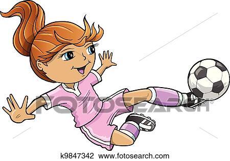 Sports Summer Soccer Girl Vector Clipart K9847342 Fotosearch