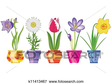 Clip art of spring flowers in pots k11413467 search clipart clip art spring flowers in pots fotosearch search clipart illustration posters mightylinksfo