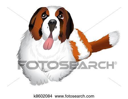 clipart of st bernard dog illustration k8602084 search clip art