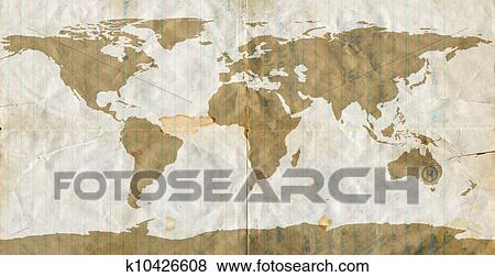 Large Paper World Map.Pictures Of Stained Loose Leaf Paper World Map K10426608 Search