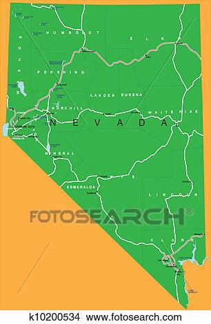 Clipart Of State Of Nevada Political Map K10200534 Search Clip Art