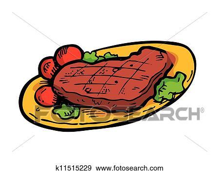 clip art of steak on a plate doodle k11515229 search clipart rh fotosearch com clipart stealth fighter clip art steak fry