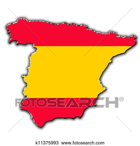 Map Of Spain Drawing.Stylized Contour Map Of Spain Drawing