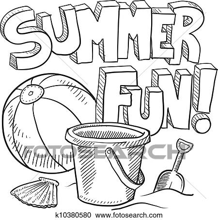 Clipart Of Summer Fun Sketch K10380580