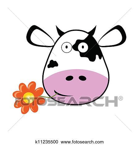 Clipart Tete Vache A A Fleur Vecteur Illustration K11235500