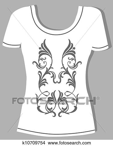 T Shirt Design With Vintage Floral Element Clipart
