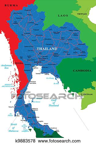 Carte Marine Thailande.Thailande Carte Clipart K9883578 Fotosearch