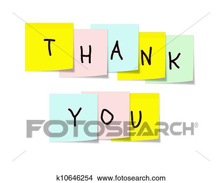 Colorful Paper Square Sticky Notes Arranged With The Words Thank You On Them Making A Great Or End Of Presentation Concept