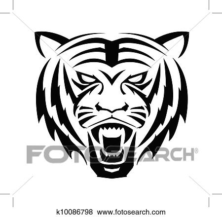 clip art of tiger face symbol k10086798 search clipart rh fotosearch com tiger face clip art free