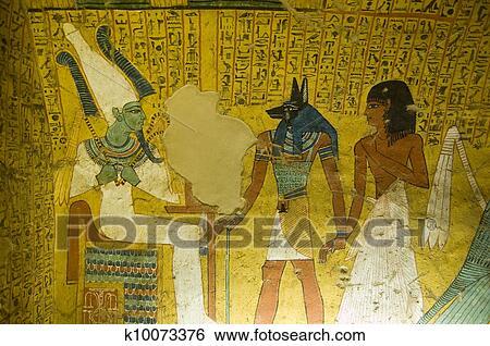 Tombe Peinture Depuis Egypte Antique Banque De Photographies