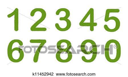Clip Art - trébol de cuatro hojas, de, alfabeto, números, 0-9 ...