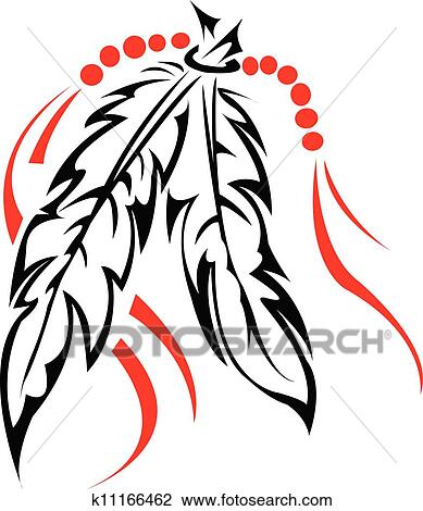 clipart of tribal feathers k11166462 search clip art rh fotosearch com