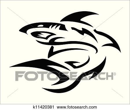 Tribal Tatuagem Desenho Tubarao Clipart K11420381 Fotosearch
