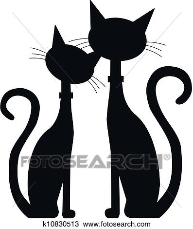Clipart Of Two Black Cats K10830513 Search Clip Art Illustration