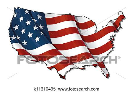 Stock Illustration of US Flag-Map Flat. Clipping Path k11310495 ...