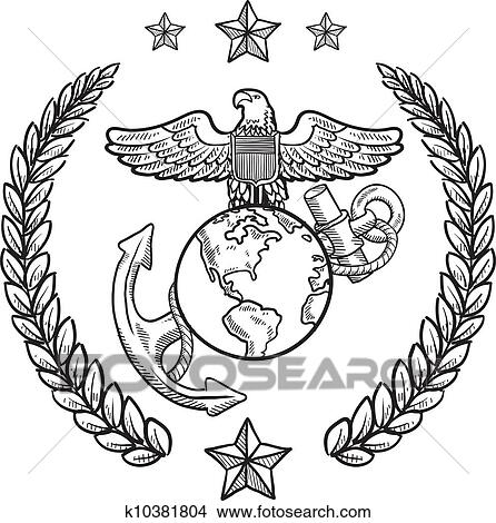 Clipart Of Us Marine Corps Military Insignia K10381804 Search Clip
