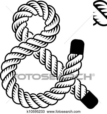 Vector black rope ampersand symbol Clipart