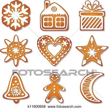 Clip Art Of Vector Gingerbread Cookies K11600658