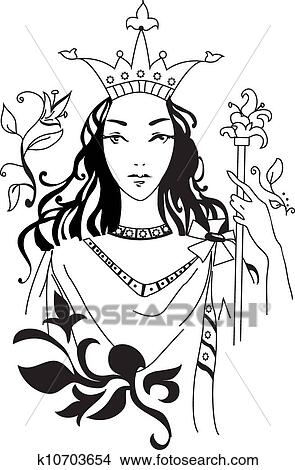 Clipart Of Vector Illustration Of Romantic Queen K10703654