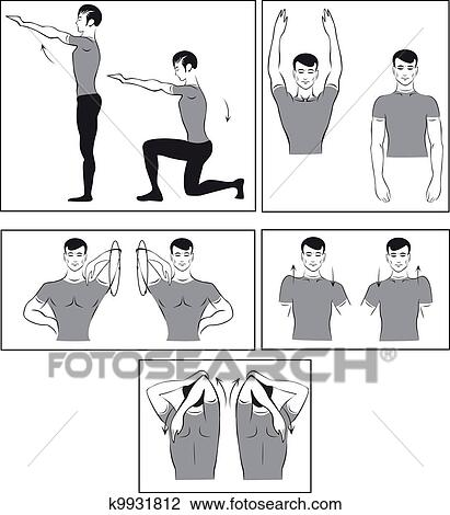 Vector set of physical exercises to Clipart