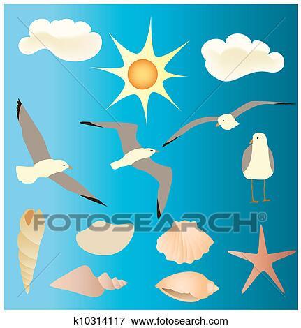 Clipart vectors conceptions de mouettes k10314117 - Dessins de mouettes ...
