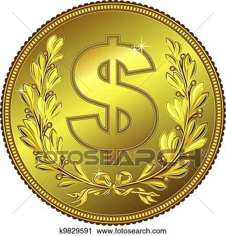 Clipart Vektor Gold Geld Dollar Münze K9829591 Suche Clip Art