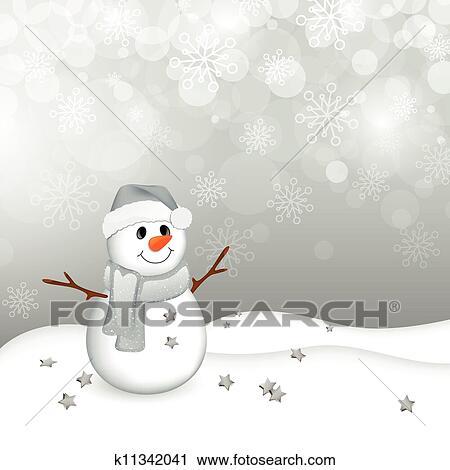 Clipart Vektor Schneemann In A Winterlandschaft K11342041