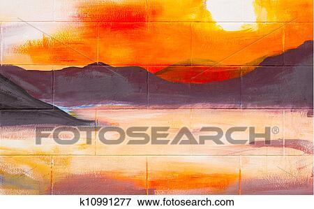 Vendange Paysage Peinture Huile Sur Mur Banque D Illustrations