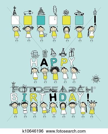 Clipart Verjaardag Kaart Met Gekke Meiden Voor Jouw Motieven